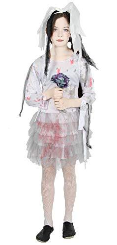 Foxxeo blutige Zombie Braut Kostüm für Kinder - Größe 122 bis 176 - weißes Brautkleid für Mädchen zu Halloween Kleid Größe 122-128