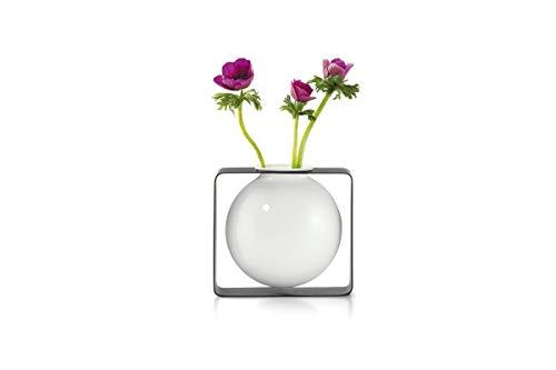 Philippi - Float Vase, rund - schebende Vase im Metallgestell - für Tupen, Rosen, effektvolle dekorative Vase