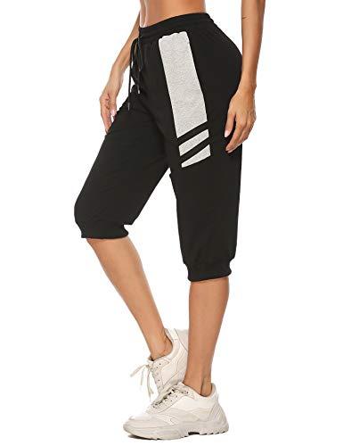 Sykooria 3/4 Pantalones Deportivos para Mujer Capri Pantalones Chándal de Algodón con Bolsillos Pantalon de Pirata para Yoga Fitness Correr Entrenamiento