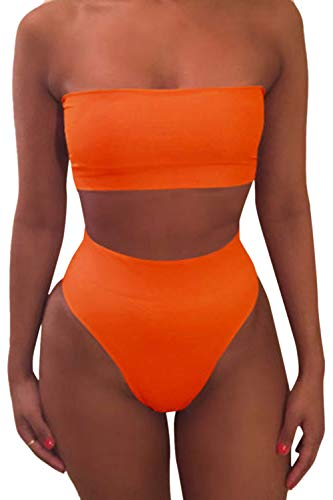 Pink Queen Women's Removable Strap Pad High Waist Bikini Set Swimsuit Orange S