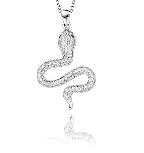 Gargantilla de plata de ley 925 con diseño de serpiente y diamantes de imitación, ideal como regalo para mujer