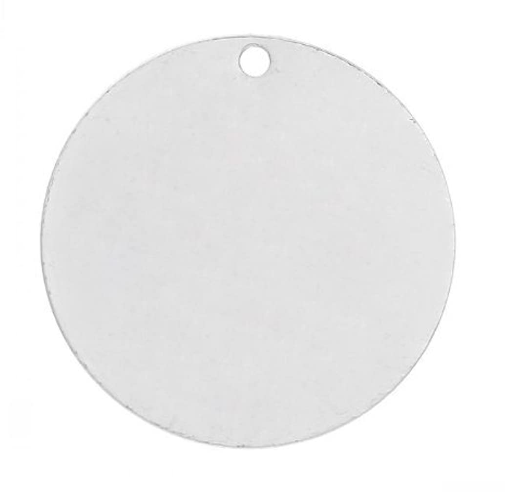 NP Supplies 50PCs Silver Round Charms, Round Tag, Blank Discs, Stamping Blanks, 15 mm (NS526)