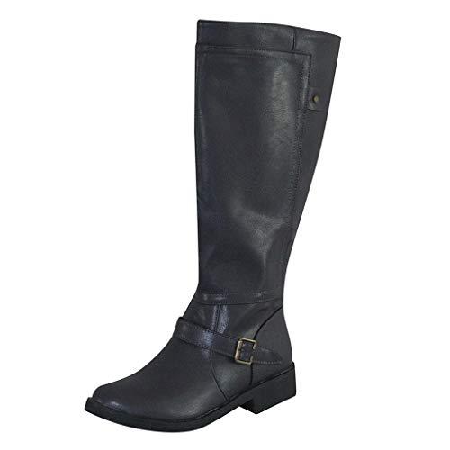 WUSIKY Stiefeletten Damen Bootsschuhe Boots Geschenk für Frauen Fashion Leder Kniehohe Schnalle Reißverschluss Schuh Cowboy Low Heel Knigh Boot (Schwarz, 35.5 EU)