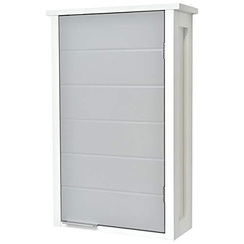 TENDANCE Mueble Alto de Sala de baño a Colgar en la Pared - 1 Almacenamiento 1 Puerta - Color Blanco y Gris
