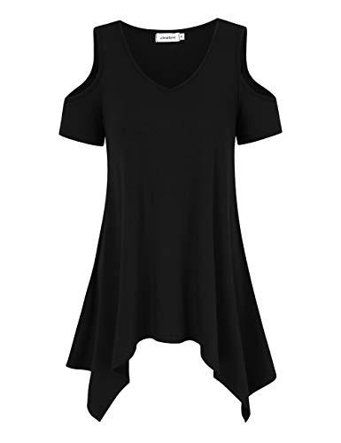 Clearlove Damen Sommer Kurzarm T Shirt Schulterfrei Tunika Asymmetrische Lässige Oberteil V Ausschnitt Off Shoulder Tops (Verpackung MEHRWEG), Schwarz, M