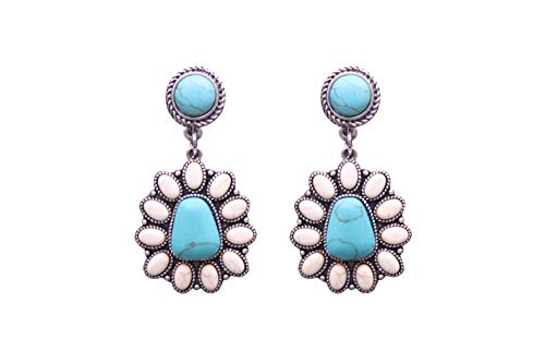 Turquoise Small Western Triangle Flower Earrings No. 1630 (WTQ)