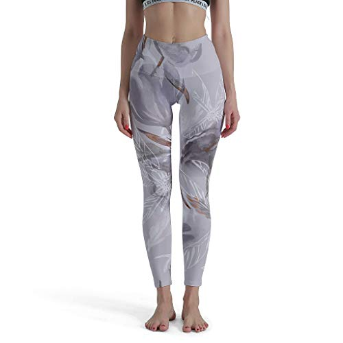 Dofeely dames grijze aquarelbloemendruk yoga broek hoge taille tights stretch workout joggingbroek Muay Thai plantenkunst