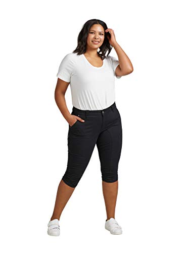 Zizzi Damen Capri Jeans 3/4 Caprihose mit Stretch Hose Große Größen -Schwarz-44