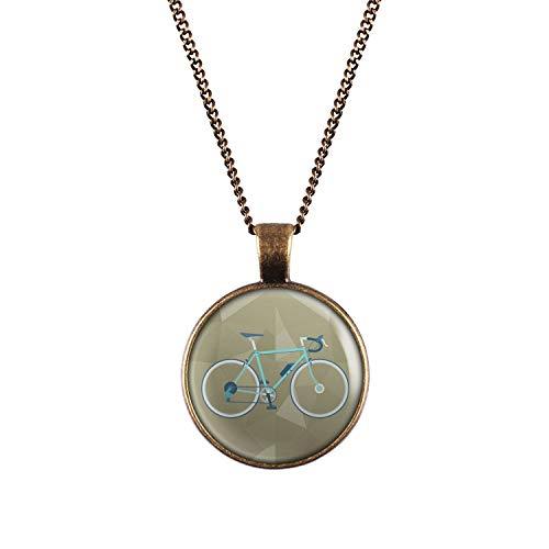 Mylery Halskette mit Motiv Renn-Rad Retro Türkis Grün Blau Bronze 28mm