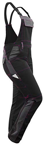 strongAnt® - Damen Arbeitshose Arbeits-Latzhose Stretch für Frauen mit Kniepolstertaschen. Baumwolle Kombihose Schwarz-Grau Pink 38