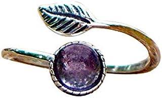 Recycled Vintage Purple Medicine Bottle Sterling Silver Leaf Botanical Collection Ring