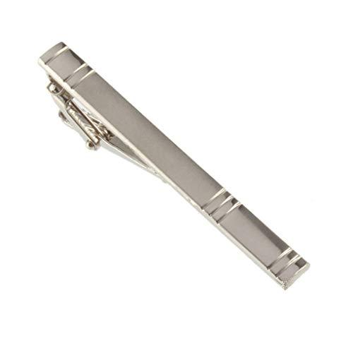 Mingtongli Hombres Niños regalos de plata simple Groove raya la corbata plateada hierro Clip PASACORBATAS corchete de barra de decoración