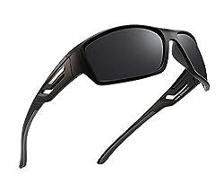 PUKCLAR Polarisierte Sport-Sonnenbrille für Herren Damen Fahren Sonnenbrille Radfahren Laufen Angeln Brille Unzerbrechlicher Rahmen Gr. L, C1 schwarzer Rahmen / grauer Tempel / Katze 3 graue Linse