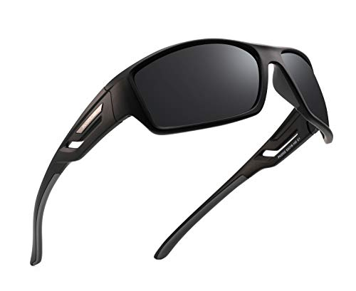 Pukclar Polarisierte Sport-Sonnenbrille für Männer und Frauen, zum Autofahren, Radfahren, Laufen, Angeln, unzerbrechlicher Rahmen Gr. L, C1 schwarzer Rahmen / grauer Tempel / Katze 3 graue Linse