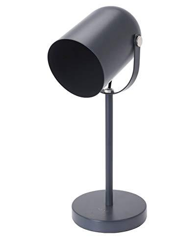 Graue Stehlampe die das Licht fast 360° drehen kann. Benötigt E27 (nicht enthalten) Glühbirne. 12x18cm, Boden: 16x2,5cm, Höhe: 43,5cm