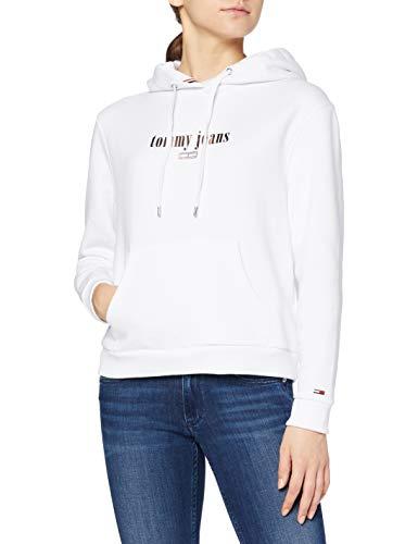 Tommy Jeans Damen TJW METALLIC Logo Hoodie Strickjacke, Weiß (Classic White Ya2), XX-Small (Herstellergröße: XXS)