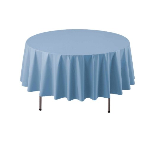 """Party Essentials ValuMost Round Plastic Table Cover Available in 16 Colors, 84"""", Light Blue"""