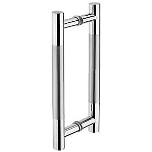 Tiberham - Tirador para puerta de granero, acero inoxidable, resistente, para baño, ducha de baño, manijas de puerta de doble cara, puerta de cristal de doble cara, manija de madera para armario en T