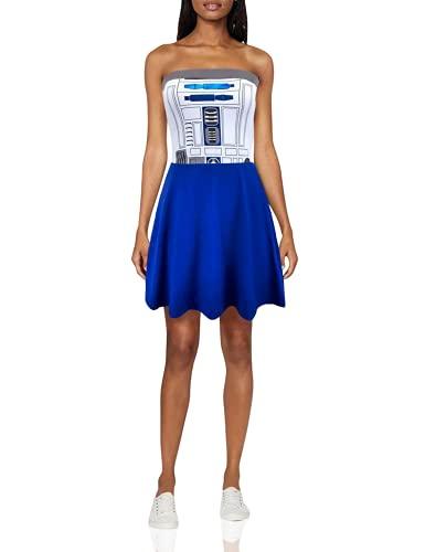 STAR WARS R2D2 Juniors Costume Tube Dress (Juniors Medium) White/Blue