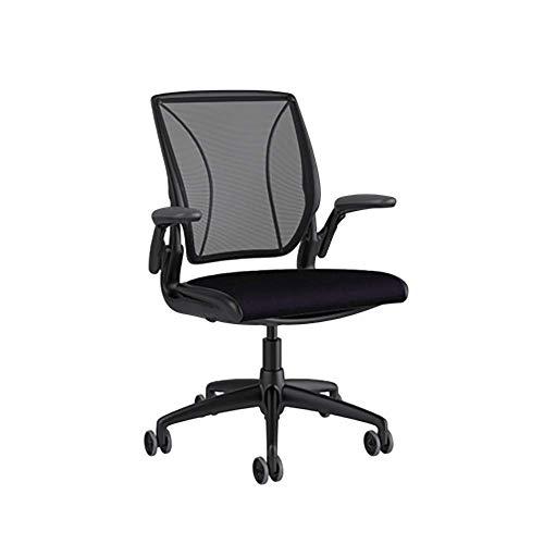 Humanscale Diffrient World Task Chair | Monofilament Stripe Black Back, Corde 4 Black Seat | Black Frame, Black Trim | Height-Adjustable Duron Arms | Standard Foam Seat, 3' Carpet Casters, 5' Cylinder