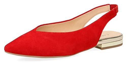 CAPRICE 29401-22 Damen Slingpumps,Slingback Pumps,Leder,modisch,Fashion,(524) RED Suede,38.5 EU / 5.5 UK
