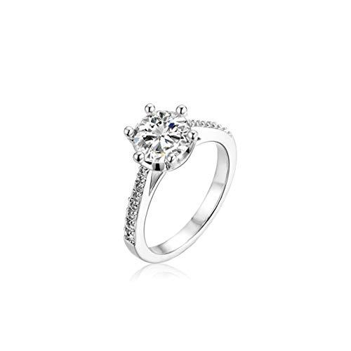Aeici Ring Damen 925 Silber,Rund Ringe Frauen Verlobungsring Größe 45 (14.3) Silber
