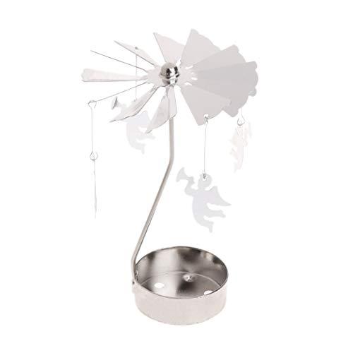 Manyo Candeliere Argento su piede girevole Candela Scaldavivande Carosello Decorazione di casa Regalo di compleanno, 02, 8x13cm/3.15'x5.12'