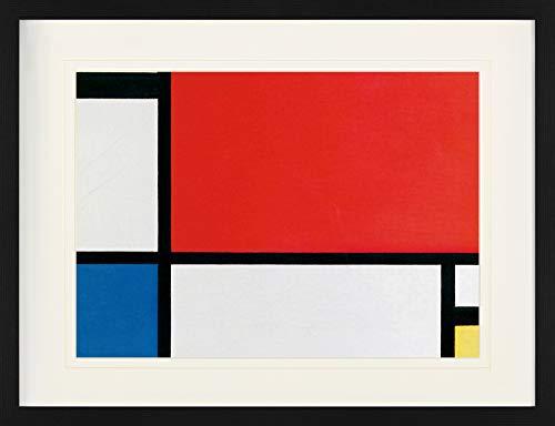 1art1 Piet Mondrian - Komposition II In Rot, Blau, Gelb, 1930 Gerahmtes Bild Mit Edlem Passepartout   Wand-Bilder   Kunstdruck Poster Im Bilderrahmen 80 x 60 cm