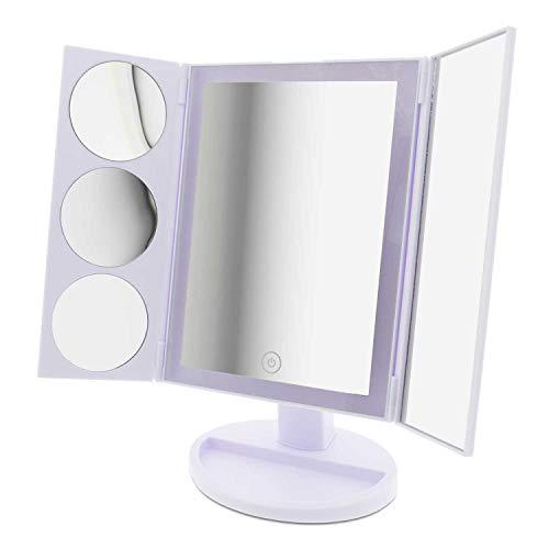 T24 LED Kosmetikspiegel 10-, 5- und 3-Fach Vergrößerung 34 LED Leuchten mit Licht LED Make up Spiegel