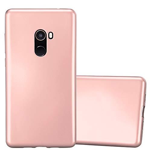 Cadorabo Funda para Xiaomi Mi Mix 2 en Metallic Oro Rosa – Cubierta Proteccíon de Silicona TPU Delgada e Flexible con Antichoque – Gel Case Cover Carcasa Ligera