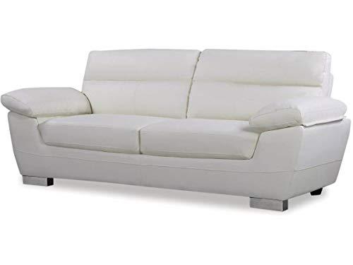Sofá cuero reconstituido/PVC Dallas - 3 plazas - Blanco