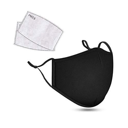 1PC Face Cover con 2PC Filtro, Algodón de Reutilizable y Lavable, Antipolvo Transpirable Protección de Adulto Mujer y Hombres (Negro)