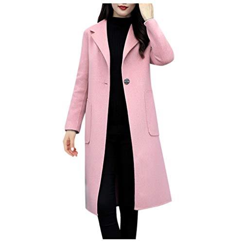 Zegeey Mantel Langjacke Damen Langarm Einfarbig Revers Trenchcoat Herbst Winter Jacke Outwear Windjacke(A7-Rosa,42 DE/2XL CN)