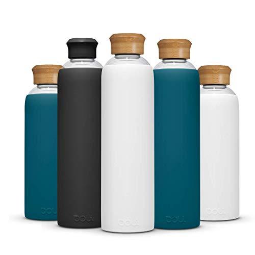 Doli Bottles Glasflasche 1 Liter 500ml I für Kohlensäure und spülmaschinengeeignet I 100% bpa-frei I Trinkflasche Glas 1l mit Schutzhülle und Schraubverschluss I Wasserflasche 1l (White, 1L)