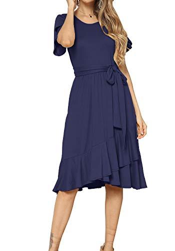Women's Plain Casual Swing Midi Modest Belt Dress Deep Blue L