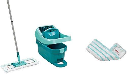 Leifheit Set Wischtuchpresse Profi XL mit Bodenwischer und Rollen inkl. Ersatzbezug Profi micro duo aus Mikrofaser, saugfähig und reinigungsstark, Set zum Putzen ohne Bücken mit Click-System