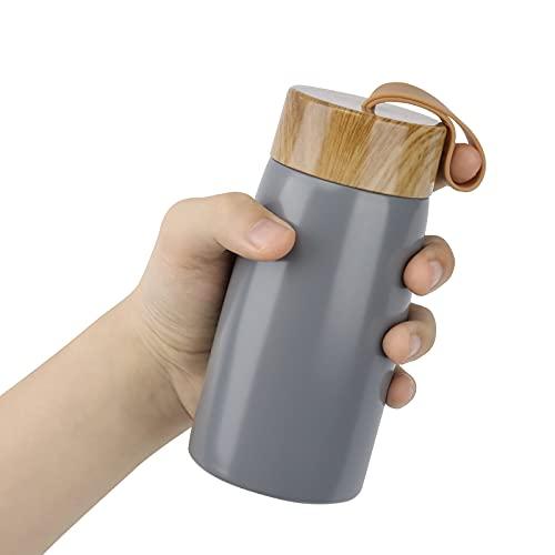 Thermos in acciaio inox – Tazza Termica da Viaggio da 280 ml, Tazza da Viaggio, 100% a Prova di Perdite con Apertura a 360° per Caffè, Acqua e Bevande(Grigio-02)