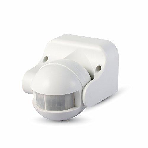 V-TAC SKU.5077 Détecteur de présence Orientable IP44 Noir VT-8003, Plastique,et Autre materiaux, 300 W, Blanc, Hauteur x Largeur x Profondeur : 86 mm x 60 mm x 98 mm