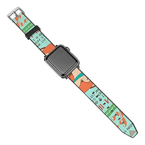 Cute Woodland Cartoon Animals Bebé Compatible con Apple Watch Band 38 mm 40 mm Correa de repuesto de cuero Correa de moda Compatible con iWatch Series 5 4 3 2 1