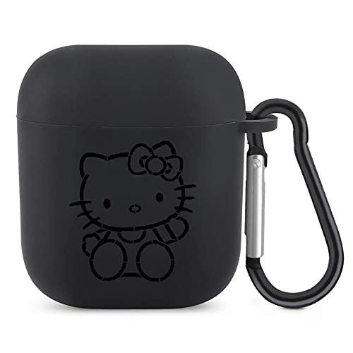 Funda para AirPods de Hello Kitty con llavero, diseño bonito compatible con AirPods 2 y 1, funda protectora de silicona premium a prueba de golpes