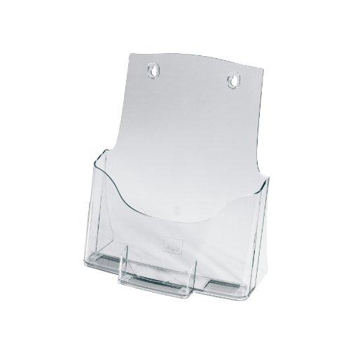 SIGEL LH111 Tisch-Prospekthalter DIN A4 mit Visitenkartenfach, aus hochwertigem Acryl / Prospektständer / Flyerhalter