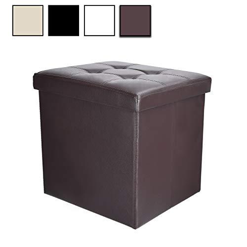 Soontrans Baúl Puff Taburete para Almacenaje Plegable Carga Máxima de 300 kg Caja de Almacenaje para Almacenaje 38 x 38 x 38 cm (Marrón)