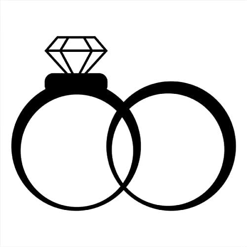 XLYDF 30 x 24 cm Anillos de boda con diamantes de boda para coche, decoración de Ged Married Bride Novio Ventana trasera del parabrisas pegatinas (Nombre del color: Negro)