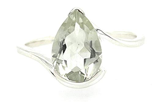 Natural 2ct Green Amethyst 925 Solid Sterling Silver Ring Size 5, 5.25, 5.75, 6, 6.75, 7, 8.75, 9