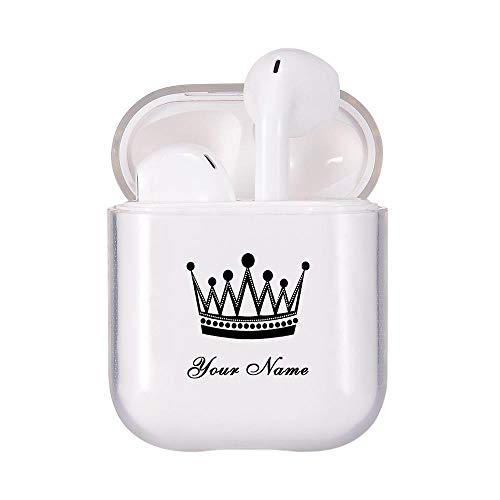 MAYCARI Personalized Airpods Case, Custom Name Airpods Case, Personalized Earbuds Cover, Transparent Clear Case Cover Protective Soft TPU Cover Case for Apple Airpods 2 &1 - Queen