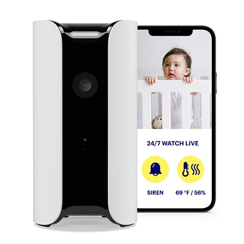 Canary Pro Indoor Home Security Camera with Premium Service (1 YR Free Incl.) 90dB Siren, Climate Monitor, 2-Way Talk, 30-Day Video History, Motion Detection, 1080p HD, Alexa, Google, Baby Monitor, Wh