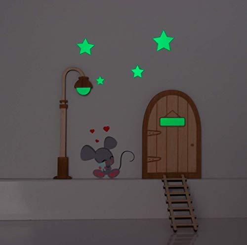 Kit Ratoncito Pérez vinilo. Farola y estrellas que brillan en la oscuridad. Puerta mágica, farola y escalera de madera para pintar y personalizar