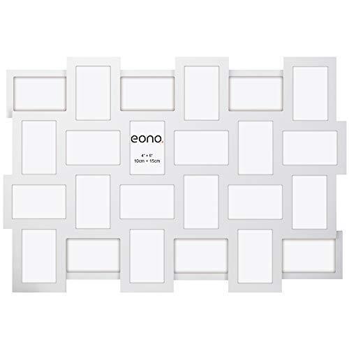 Eono by Amazon - 10x15 cm Kollage aus Bilderrahmen mit Hochauflösendem Glas mit Öffnungen für 24 Fotos Wandhängend Weiß