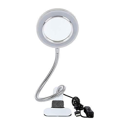 SurfMall Lámpara estética con lupa 8 dioptrías, lámpara LED USB portátil, clip portátil y lámpara de cuello de cisne flexible para maquillaje tatuaje uñas arte belleza [eficiencia energética clase A]