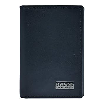 Kenneth Cole REACTION Men s Wallet-RFID Leather Slim Trifold with ID Window and Card Slots Black Plaque One Size